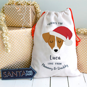 Jack Russell Personalised Christmas Present Sack