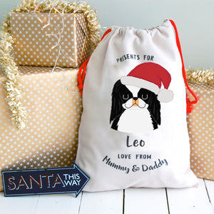 Japanese Chin Personalised Christmas Present Sack