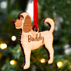Labradoodle Personalised Wooden Christmas Decoration