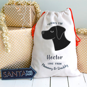 Labrador Christmas Sack Personalised  - Hoobynoo - Personalised Pet Tags and Gifts