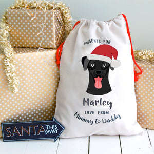 Labrador Portrait Personalised Christmas Present Sack