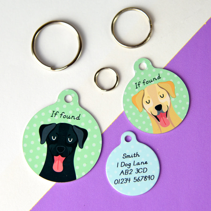 Labrador Portrait Personalised Dog ID Tag  - Hoobynoo - Personalised Pet Tags and Gifts