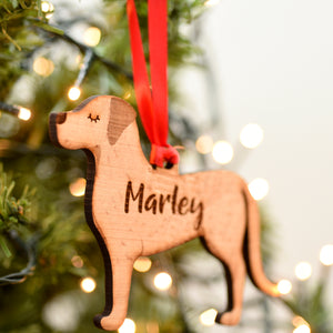 Personalised Labrador Wooden Christmas Decoration