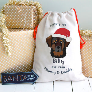 Leonberger Personalised Christmas Present Sack