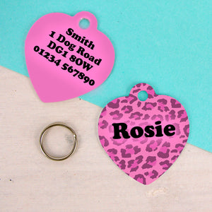 Pink Leopard Print Heart Shaped Personalised Dog ID Tag  - Hoobynoo - Personalised Pet Tags and Gifts