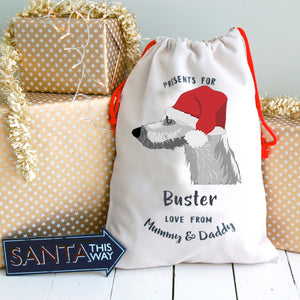 Lurcher Personalised Christmas Present Sack