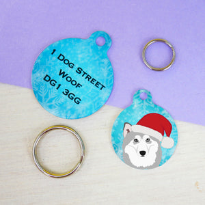 Cute Alaskan Malamute Christmas Dog ID tag  - Hoobynoo - Personalised Pet Tags and Gifts