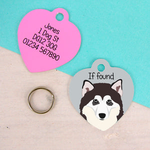 Alaskan Malamute Heart Shaped Personalised Dog ID Tag  - Hoobynoo - Personalised Pet Tags and Gifts