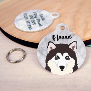 Alaskan Malamute Personalised Dog Tag - Marble Print  - Hoobynoo - Personalised Pet Tags and Gifts