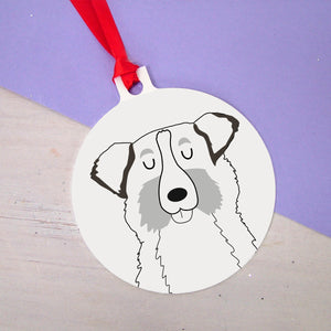 Personalised Australian Shepherd Christmas Decoration - Monochrome  - Hoobynoo - Personalised Pet Tags and Gifts
