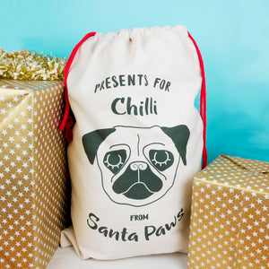 Dog Christmas Present Sack - Monochrome  - Hoobynoo - Personalised Pet Tags and Gifts