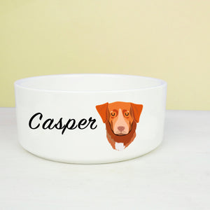 Nova Scotia Duck Tolling Retriever Dog Personalised Bold Ceramic Dog Bowl