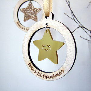 Personalised Baby's First Christmas Tree Decoration