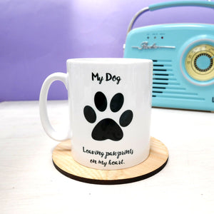 Leaving Pawprints on My Heart Mug  - Hoobynoo - Personalised Pet Tags and Gifts