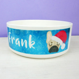 Personalised French Bulldog Christmas Dog Bowl  - Hoobynoo - Personalised Pet Tags and Gifts