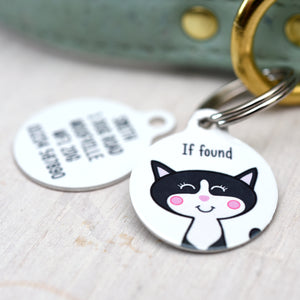 Cat Personalised Dog Tag - White