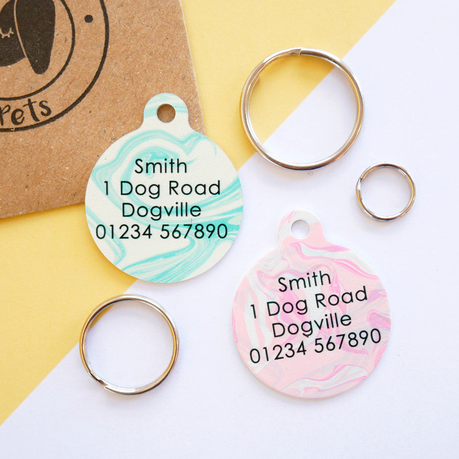Personalised Pet ID Tag - Marbled Paper  - Hoobynoo - Personalised Pet Tags and Gifts