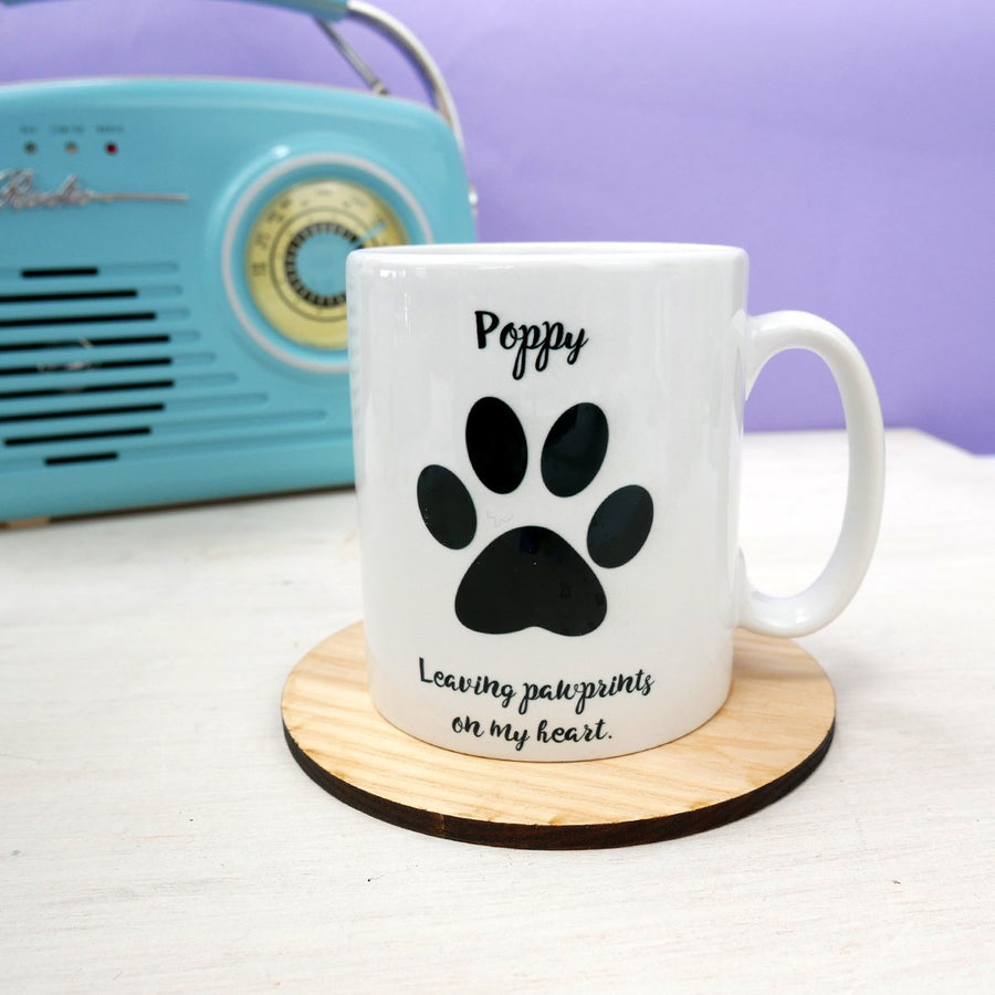 Personalised Leaving Pawprints on My Heart Mug