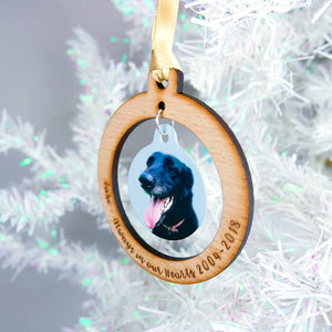 Pet Memorial Photo Christmas Decoration  - Hoobynoo - Personalised Pet Tags and Gifts