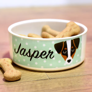 Personalised Ceramic Dog Bowl - Polka Dot