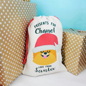 Pomeranian Christmas Sack  - Hoobynoo - Personalised Pet Tags and Gifts
