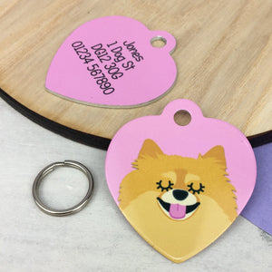 Pomeranian Personalised Dog ID Tag - HEART  - Hoobynoo - Personalised Pet Tags and Gifts