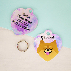 Pomeranian Personalised Universe Dog ID Tag - HEART