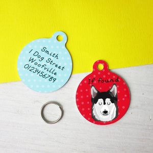 Pomsky Personalised Dog ID Tag  - Hoobynoo - Personalised Pet Tags and Gifts