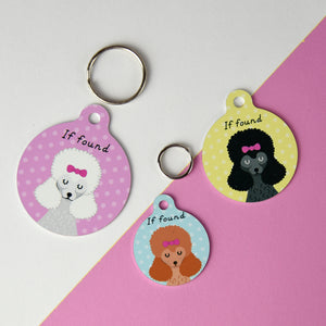 Poodle Portrait Personalised Dog ID Tag  - Hoobynoo - Personalised Pet Tags and Gifts