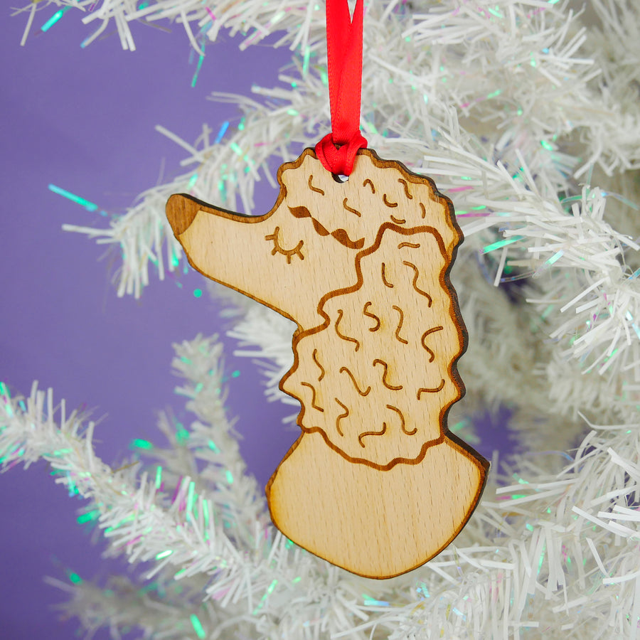 Poodle Wooden Christmas Decoration