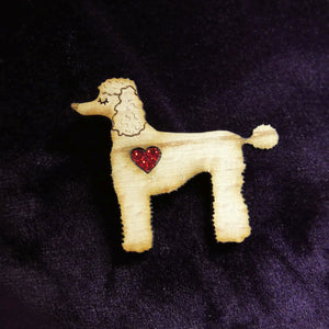 Poodle Wooden Brooch with Glitter Heart Detail
