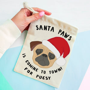 Pug Christmas Treat Present Bag  - Hoobynoo - Personalised Pet Tags and Gifts