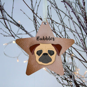 Personalised Pug Christmas Decoration - Copper printed  - Hoobynoo - Personalised Pet Tags and Gifts