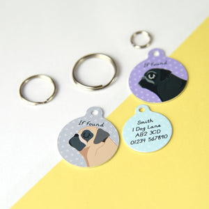 Pug Profile Personalised Dog ID Tag  - Hoobynoo - Personalised Pet Tags and Gifts
