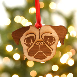 Wooden Pug Christmas Ornament