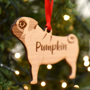 Pug Personalised Wooden Christmas Decoration