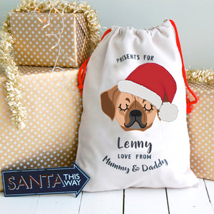 Puggle Personalised Christmas Present Sack