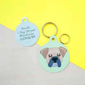 Pughasa personalised dog ID tag