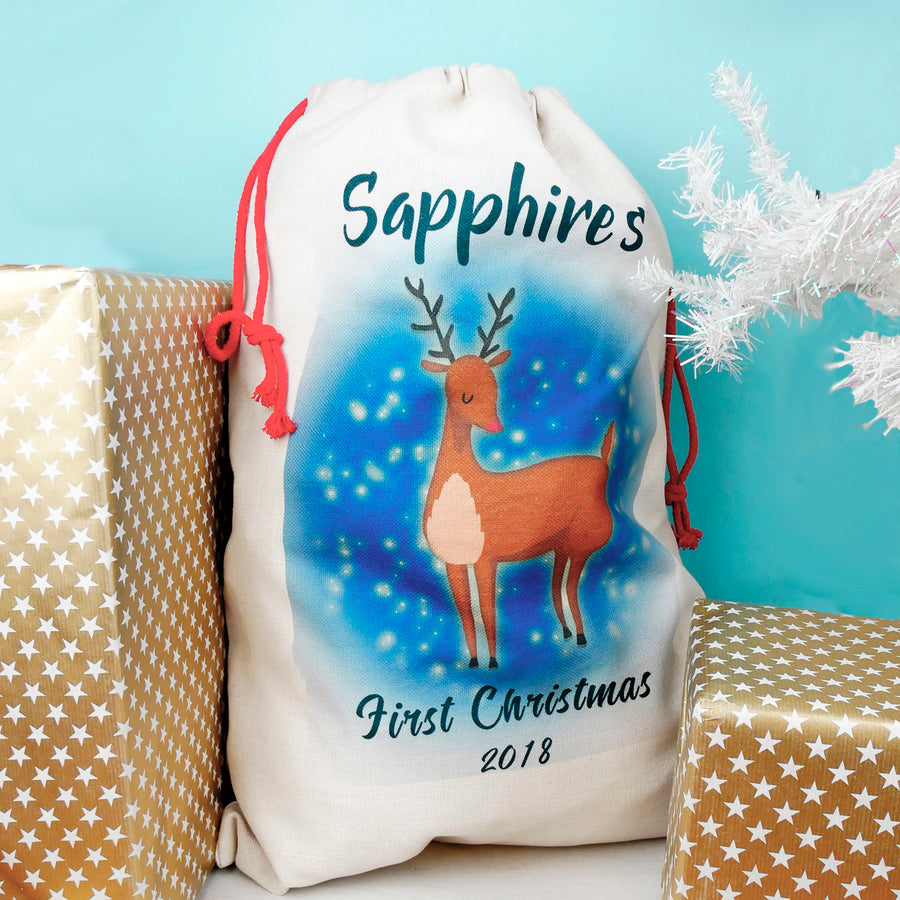 Personalised Baby's First Christmas Present Sack