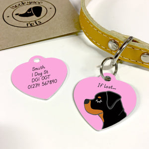 Rottweiler Personalised Dog ID Tag - HEART  - Hoobynoo - Personalised Pet Tags and Gifts