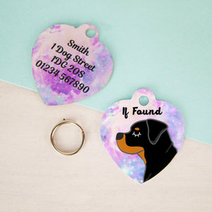 Rottweiler Personalised Universe Dog ID Tag - HEART  - Hoobynoo - Personalised Pet Tags and Gifts