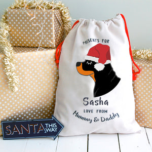 Rottweiler Personalised Christmas Present Sack