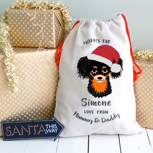 Russian Toy Terrier Personalised Christmas Present Sack