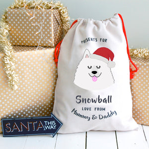 Samoyed Personalised Christmas Present Sack