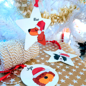 Santa Dog Christmas Decoration Personalised  - Hoobynoo - Personalised Pet Tags and Gifts
