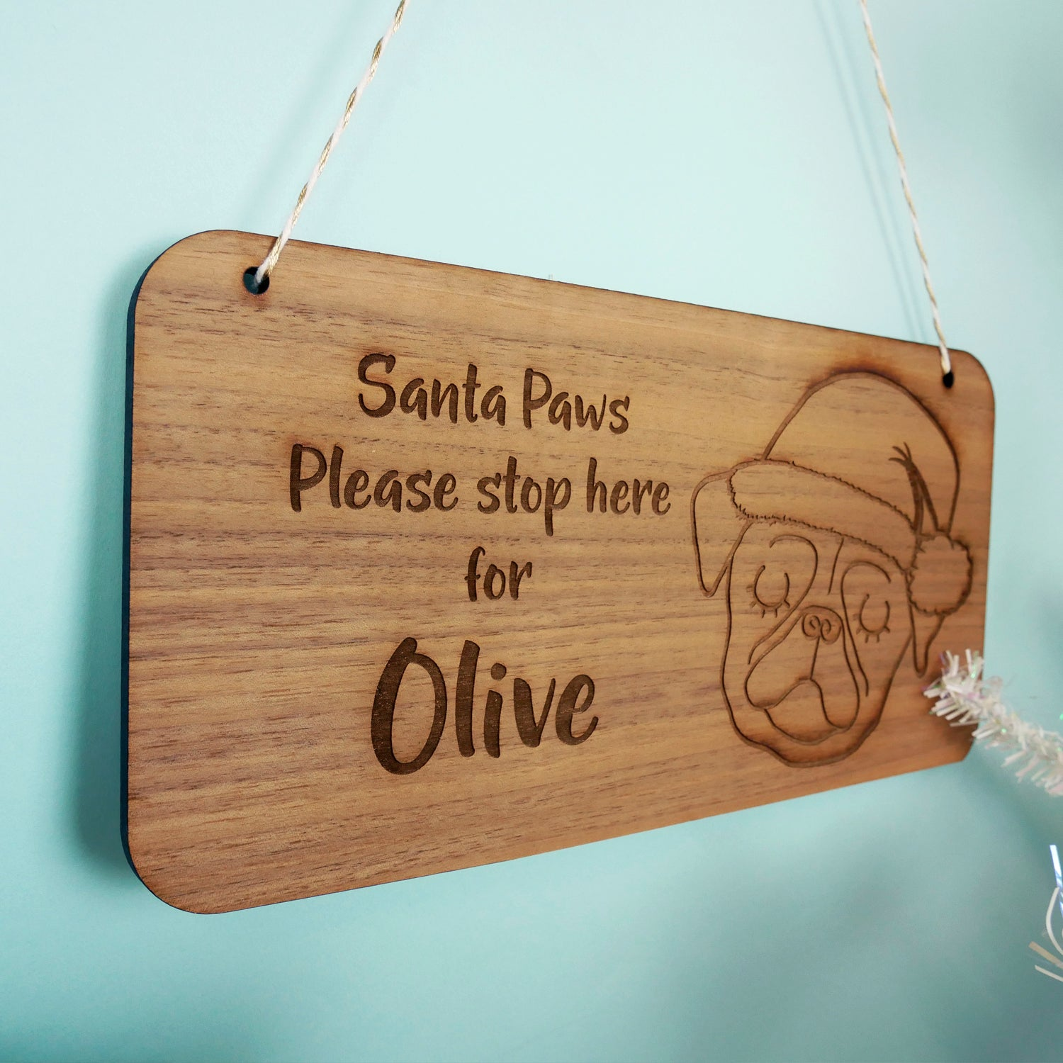 3cb06f5aaf846 Santa Paws Stop Here Wooden Sign - Santa Dog Sign - Santa Stop Here Sign For