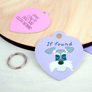 Schnauzer Personalised Dog ID Heart Tag  - Hoobynoo - Personalised Pet Tags and Gifts