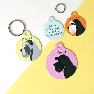 Schnauzer Profile Personalised Dog ID Tag  - Hoobynoo - Personalised Pet Tags and Gifts