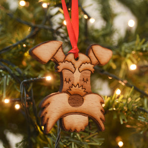 Schnauzer Wooden Christmas Decoration