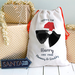 Scottish Terrier Personalised Christmas Present Sack